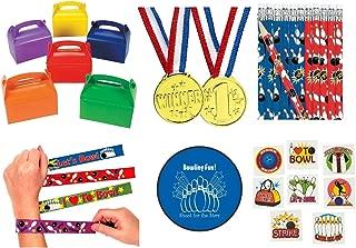 Bowling Party 133 piece Party Pack Bundle Kid's Favors (12 Goodie Gift Boxes, 12 Slap Bracelets, 72 Tattoos, 12 Gold Medals, 24 Pencils, Bonus Folding Flying Disc)