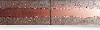 cobre y hierro oxidado Abstracto A445 - díptico industrial con textura, arte original, pinturas abstractas con textura del...