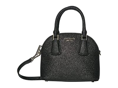 Kate Spade New York Sylvia Glitter Mini Dome Satchel (Black) Bags