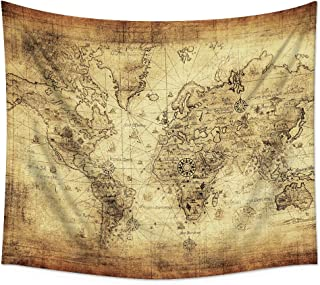 Uphome Antique Map Tapestry Wall Hanging Light-Weight Polyester Fabric Wall Decor (51