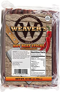 """Weaver`s Smoked Meats 7"""" Meat Sticks- Established in 1885 (Hot Beef, 2.5 lbs.)"""