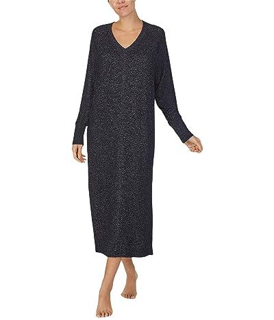 Donna Karan Sweater Knit Sleepwear Maxi Sleepshirt (Black Marl) Women