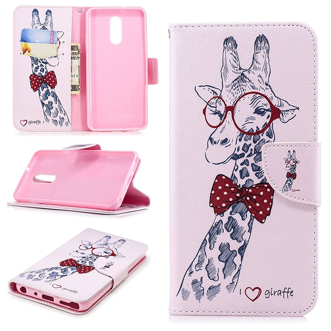 LG Stylo 4 Plus Cartoon Case,LG Q Stylus 4 Phone Case,KAWOO Folio Flip PU Leather Slim Fit Stand Case Book Design Cover for LG Q Stylus 2018,Giraffe