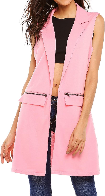 Beyove Women's Sleeveless Zip Pocket Long Waistcoat Blazer Jacket Coat Top