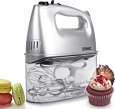 Duronic HM4 Electric Hand Mixer Set 400W - 2 Beaters | 2 Hooks | 1 Whisk - Baking - Storage Case Stand 5 Speed Turbo Function