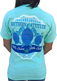 Southern Attitude 3 Turtles Sea Foam Green Preppy Short Sleeve Shirt