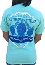 Southern Attitude 3 Turtles Sea Foam Green Preppy Short Sleeve Shirt