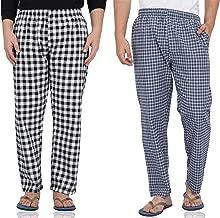 Fflirtygo Mens Pyjama Night, 100% Cotton Export Quality Fabric, (Pack of 2) Sleep Pants, Pyjama for Men, Men's Leisure Wear, Night Wear Pajama –Black and Blue Check Payjama Combo Pack