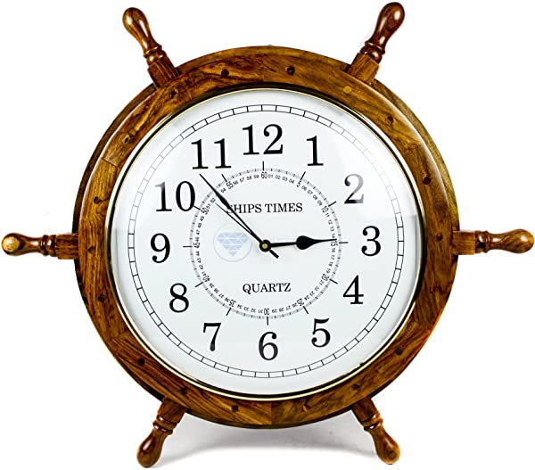 Nagina International Nautical Moon Light Blue Large Wooden Ship Wheel With Ship S Time Captain S Clock Pirate Home Decorative Clock 24 Inches White Dial Face