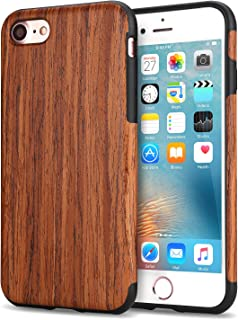 TENDLIN Funda iPhone 7 Funda iPhone 8 Grano de Madera Silicona TPU Híbrido Suave Carcasa para iPhone 7 y iPhone 8 (Sándalo Rojo)