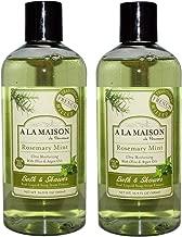 A La Maison de Provence Rosemary Mint Liquid Bath and Shower Soap (Pack of 2) With Coconut Oil, Argan Oil and Vitamin E, 16.9 fl oz Each