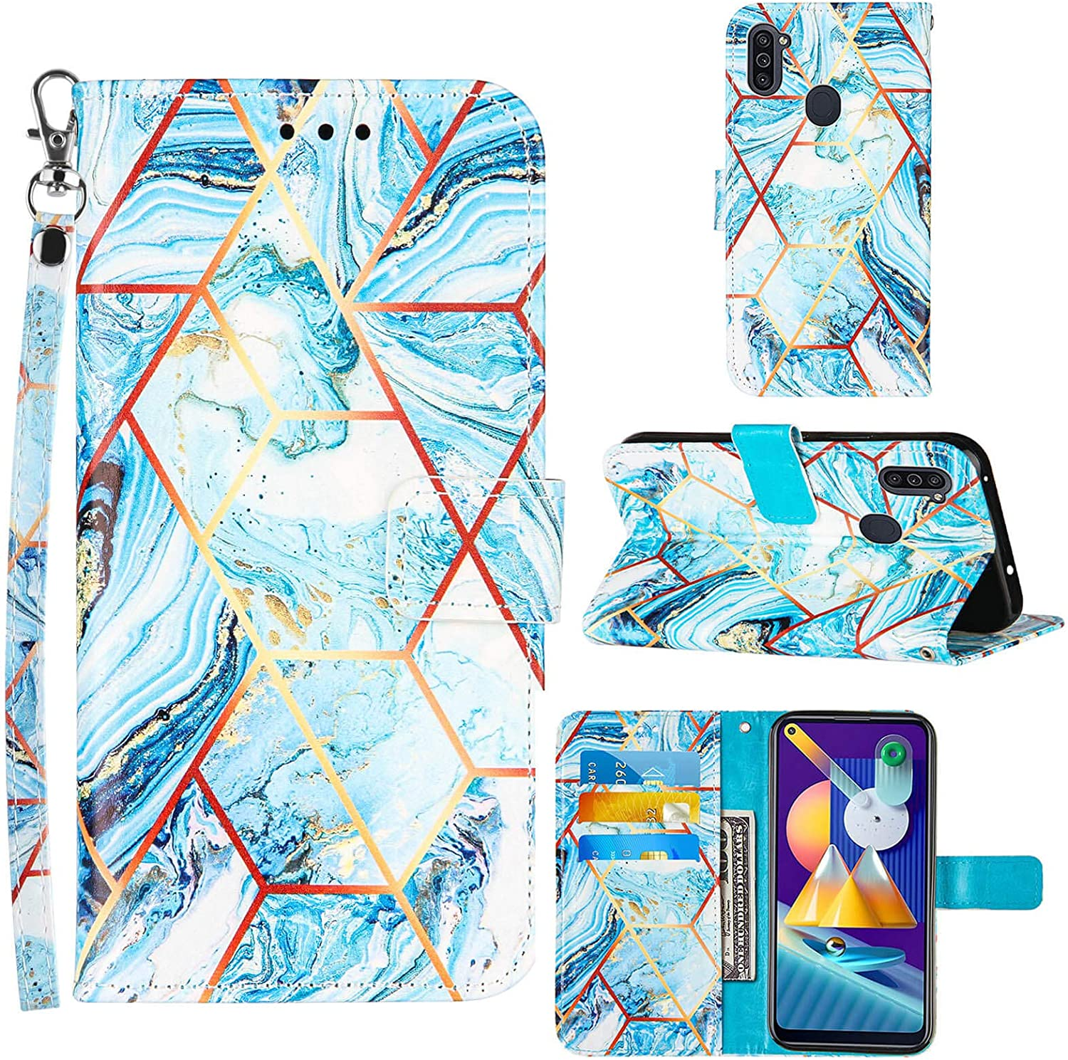 A11 Phone Case Wallet,for Galaxy A11 Case,[Stand Feature][Wrist Strap][Credit Cards Holder] 2021 Marble Pattern Premium PU Leather Flip Protective Cover for Samsung A11 Case (Blue)