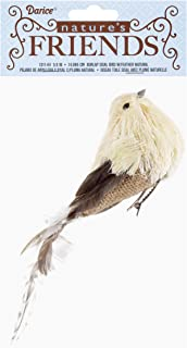 NATURES FRIENDS W13164 Bird Burlap Sisal Feather 5.9In Natural