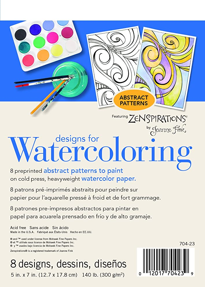 Strathmore ((704-23-1 Designs for Watercoloring 140 lb. Cold Press Pad, Abstract, 8 Sheets