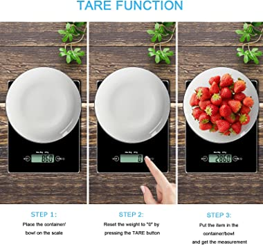 Viliwin Food Kitchen Scale, 11lb Digital Weight Grams and oz for Cooking Baking and Meal Prep, 1g/0.1oz Precise Graduation, T