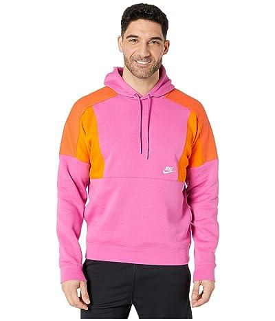 Nike NSW Hoodie Pullover Color Block (Active Fuchsia/Magma Orange/White) Men