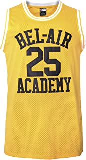MOLPE Banks #25 Bel Air Academy Yellow Basketball Jersey S-3XL, 90S Hip Hop Clothing for Party, Stitched Letters and Numbers