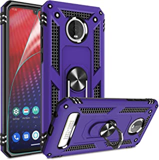 Moto Z4 Case, Moto Z4 Play Case with HD Screen Protector,Gritup 360 Degree Rotating Metal Ring Holder Kickstand Armor Anti...