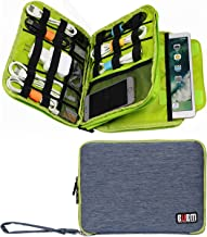 BUBM Handbag Double Layer Travel Cable Cord Gadget Gear Storage Electronics Accessories Organizer Bag Phone Pad Pouch (Large, Blue and Green)