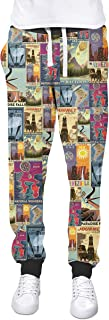 Rainbow Rules Pixar Up Travel Posters Cuffed Joggers Sweatpants Jogging Bottoms