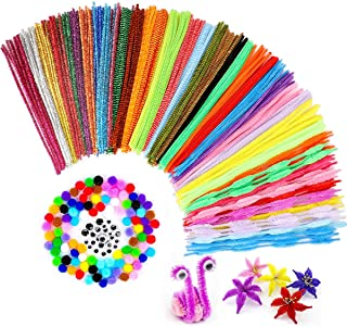 Pipe Cleaners Sets 550 Pieces,Including 350 Pcs Assorted Colors Craft Chenille Stems,100 Pcs Wiggle Googly Eyes,100 Pcs Colored Pompoms for DIY Art Supplies,Kids Handmade Creative Decorations Projects