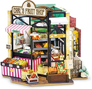 Rolife DIY Miniature House Kit 1:24 Scale Miniature Kit Green Grocery Diorama Gifts for Adults(Carl's Fruit Shop)