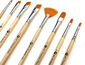 AIT Art Paint Brushes, Set of 8 Includes Angle Shaders, Filberts, and a Fan, Handmade in USA to Last Longer Without Sheddi...