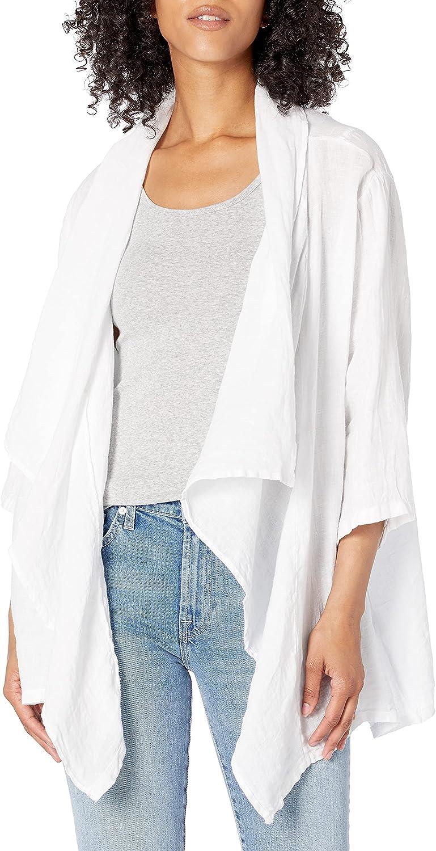 M Made in Italy Women's Drape-Front Linen Open Jacket