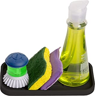 HomeBee, Silicone Kitchen Bath Vanity Organizer Tray, Non-Slip Durable Multipurpose Sink Caddy   Sponge, Brush, Dish Soap Dispenser Rubber Holder   Heat Resistant and Dishwasher Safe, Black
