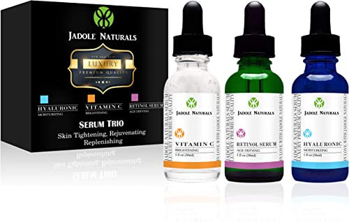 Anti Aging Set with Vitamin C Retinol and Hyaluronic Acid Serum for Anti Wrinkle and Dark Circle Remover All Natural ...