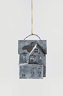 Creative Co-op Galvanized House Shaped Metal Ornaments, Silver