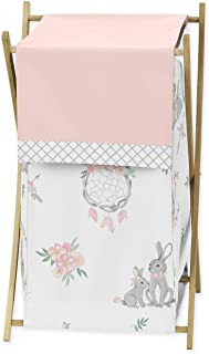 Sweet Jojo Designs Baby Kid Clothes Laundry Hamper, Gray Bunny Floral Collection - Watercolor Rose Flower, Blush Pink and Grey Woodland Boho Dream Catcher Arrow