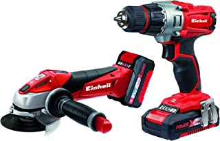 Einhell Expert Kit con Taladro TE-CD 18/2 Li y Amoladora TE-AG 18 Li de 18V con 2 baterías de litio de 1,5Ah y 3,0 Ah y cargador (ref.4257211)