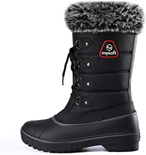 mysoft Womens Snow Boots Warm Faux Fur Lined Mid-Calf Winter Boots