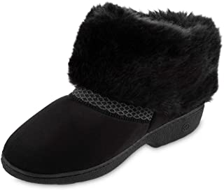 isotoner Women's Recycled Microsuede Mallory Boot Slipper, with Memory Foam, Black, 7.5-8