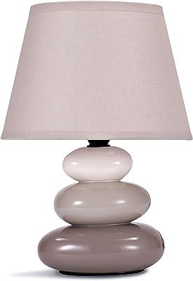 """Lampe de table """"Lina"""" / lampe de chevet en céramique avec 3 pierres, gris beige"""