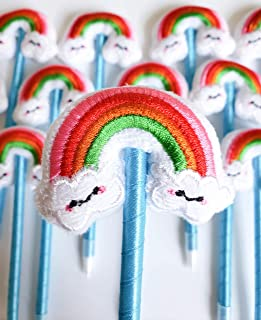 Rainbow Party Favor Pens Gift, 12 Pack Unicorn Birthday Party Supplies Decorations for Girls Boys Office Sleepover Art Theme Rewards Giveaways Clouds Plush