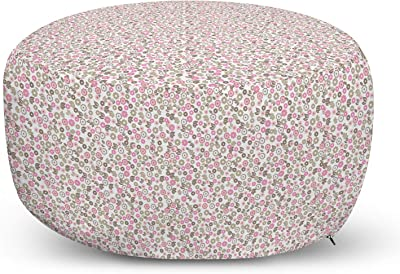 Lunarable Spring Ottoman Pouf Minimal Floral Pattern With Geometric Petals And Leaves Decorative Soft Foot Rest With Removable Cover Living Room And Bedroom Pink Peacock Green Furniture Decor