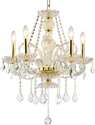 Worldwide Lighting AMZ83102G20-CL Provence 5-Light Finish and Clear Crystal Chandelier, Medium, Polished Gold