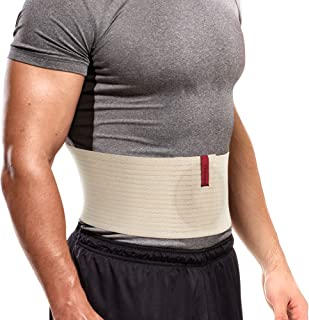 Umbilical Hernia Belt for Men and Women Abdominal Binder Hernia Support with Silicone Compression Pad Navel Ventral Epigastric Incisional and Belly Button Hernias Surgery Prevention Beige OX5241-L-XXL