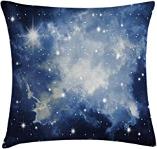Ambesonne Constellation Throw Pillow Cushion Cover, Blue Galaxies in Night Sky Celestial Image Stars Fog, Decorative Square Accent Pillow Case, 16 X 16, Navy White