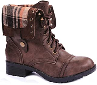 Women Military Combat Foldable Cuff Faux Leather Plaid/Quilted Back Zipper Lace Up Boots
