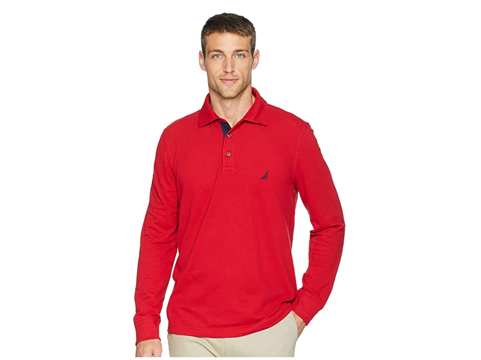 Nautica Long Sleeve Solid Polo (Nautica Red) Men