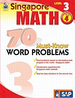 Singapore Math – 70 Must-Know Word Problems Workbook for 4th Grade Math, Paperback, Ages 9–10 with Answer Key