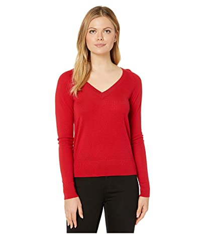 Pendleton Merino V-Neck Pullover (Cherry Red) Women