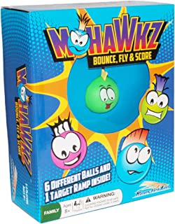Mohawkz Family Board Game - Table Corn Hole Toy with Mohawks Ping Pong Balls to Bounce at a Cardboard Target Improves Hand Eye Coordination, Simple Fun for Kids and Teens, Ages 8 Years and Up