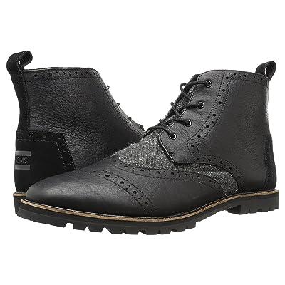 TOMS Brogue Boot (Black Leather/Charcoal Fleck) Men