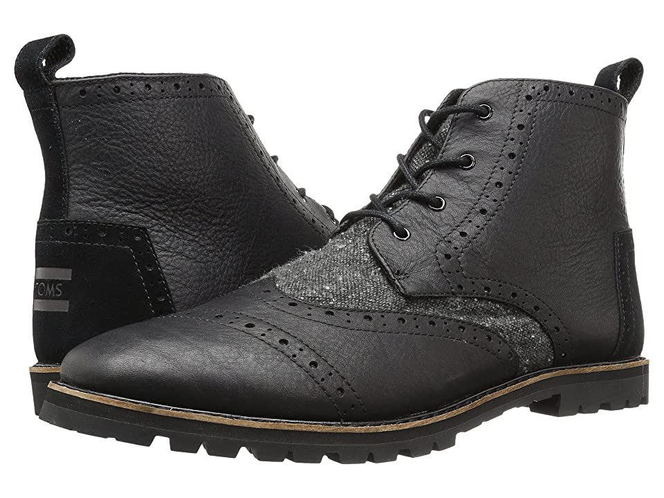 TOMS Brogue Boot (Black Leather/Charcoal Fleck) Men