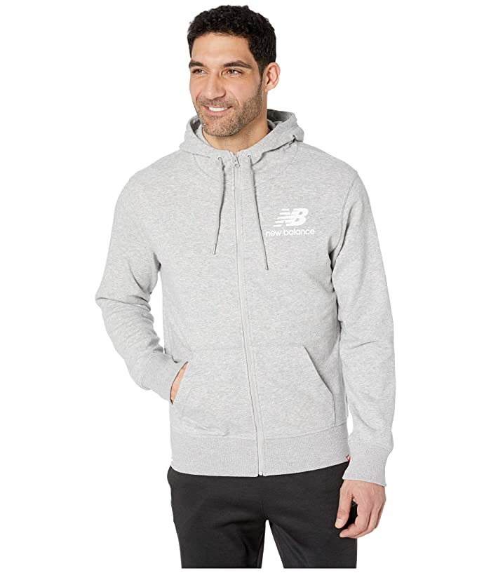 New Balance Essentials Stacked Logo Full Zip Hoodie (Athletic Grey) Men