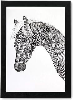 Mandala Art - Handmade Painting Photo Frame of Horse | Modern Art Wooden Frame Pen Sketch Drawing | Portrait Painting for ...